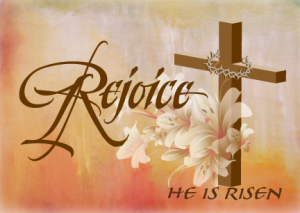 Christian cross with word rejoice next to the cross.