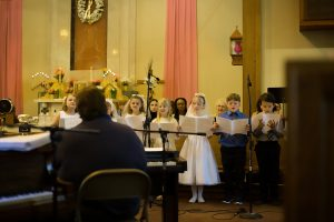 Children at first communion in the Catholic Church.