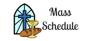 Mass Schedule with cross and bread and wine