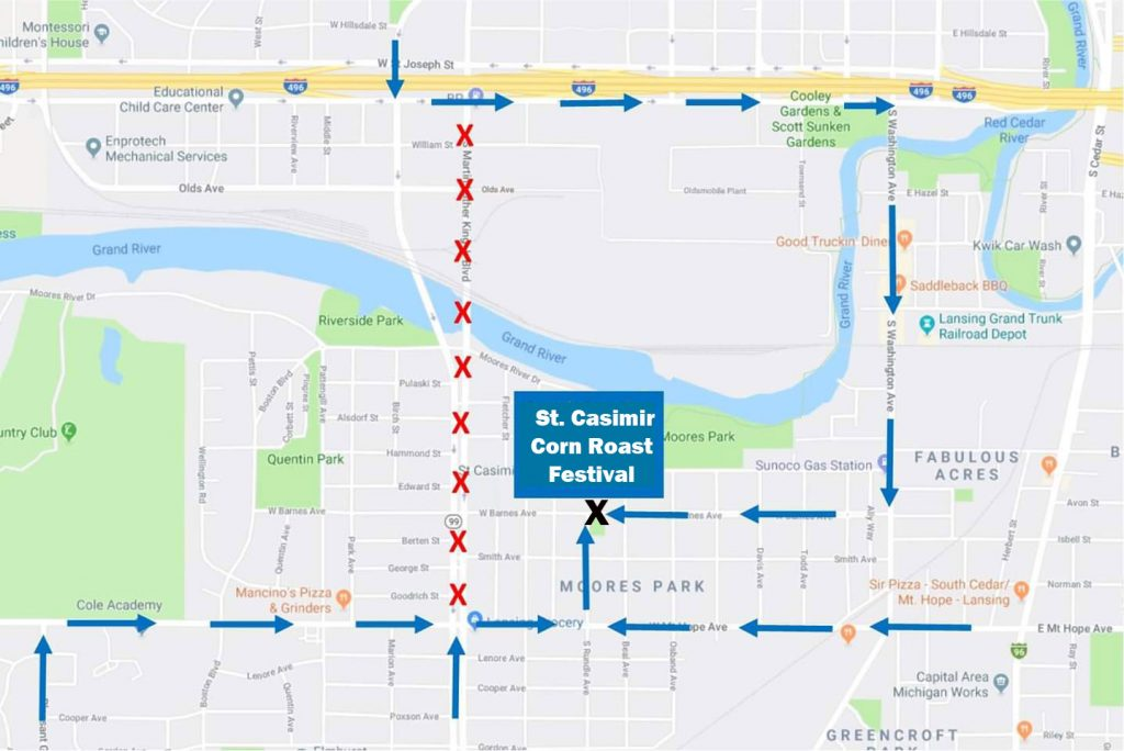 Street Construction Map around St. Casimir Catholic Church